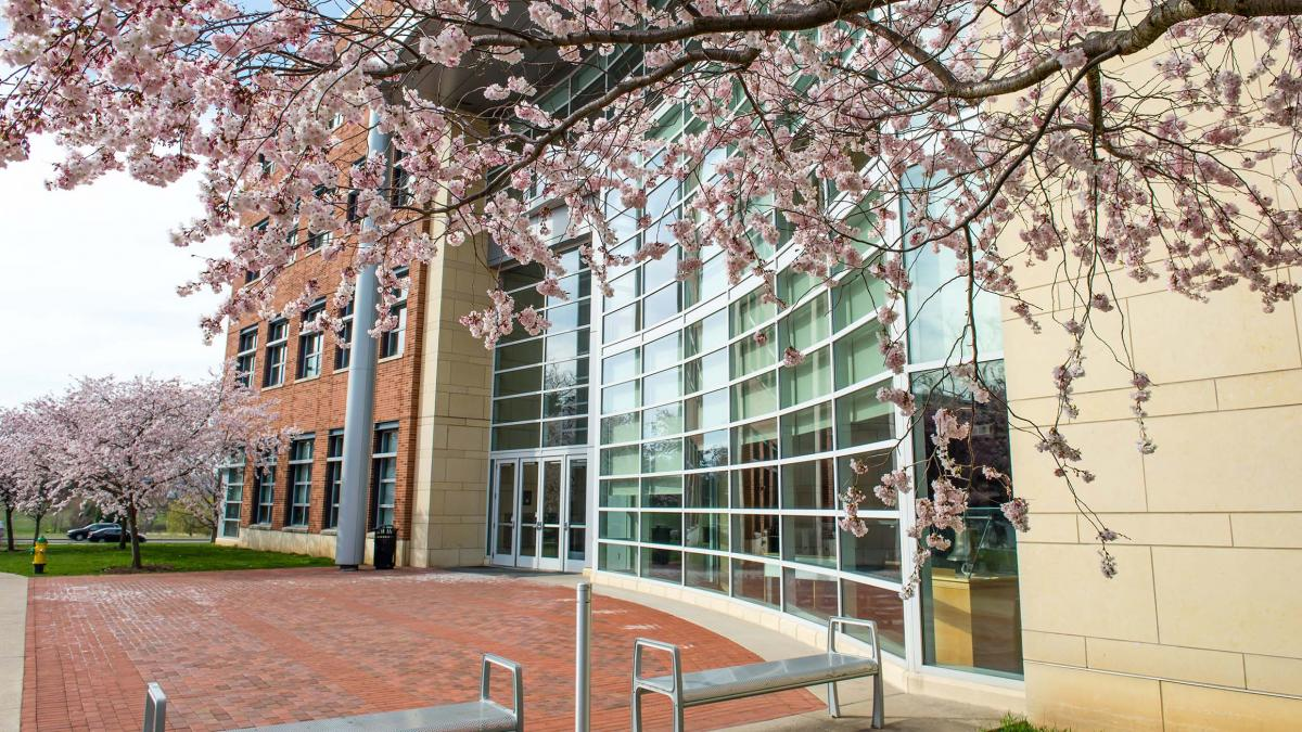 The front entrance of the Business Building at Penn State