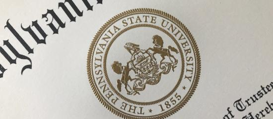 the Penn State seal is shown on a diploma