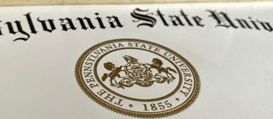 The seal of the Pennsylvania state University on a diploma
