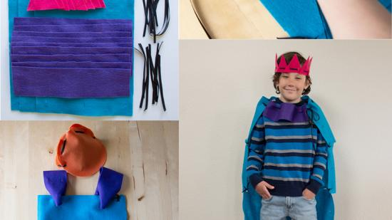 A student's art project is shown as a child's costume using household items like felt.