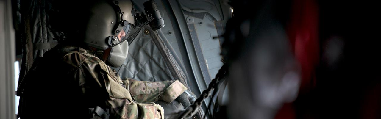 Soldier inside aircraft