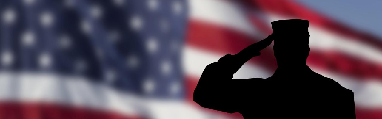 Silhouette of soldier saluting in front of flag