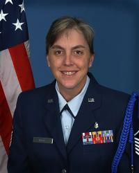 Mary Thomas is pictured in her Air Force uniform.